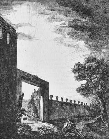 Illustration of street of the tombs outside the gate of Herculaneum in Pompeii