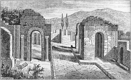 Illustration of street of the tombs outside the gate of Herculaneum in Pompeii Banque d'images - 125270091