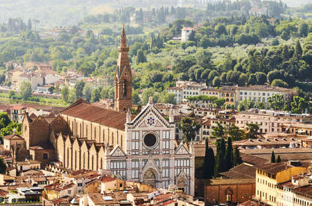 basilica of Santa Croce from above, Florence Italy
