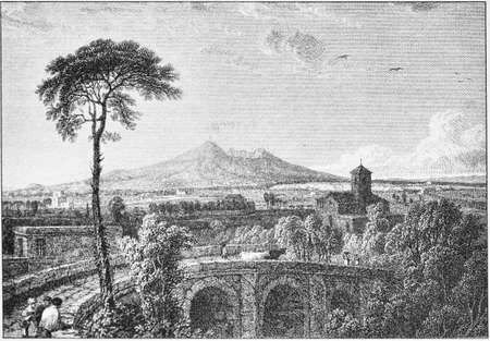 engraving of Vesuvius smoking from the 1800s Banque d'images - 125270271