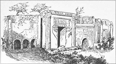 Illustration of street of the tombs outside the gate of Nuceria in Pompeii Stok Fotoğraf