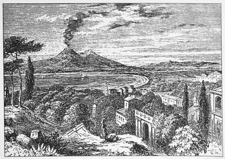 Antique illustration of Vesuvius smoking from the 1800s Banque d'images - 125270273