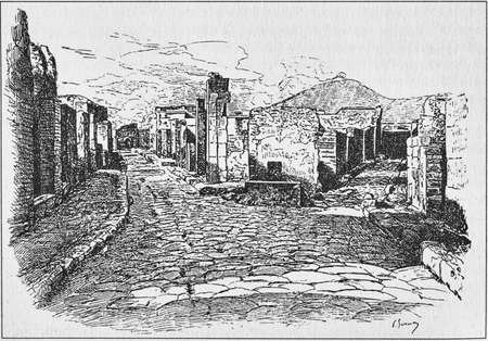 Illustration of street of the tombs of the gate of Herculaneum in Pompeii Stok Fotoğraf