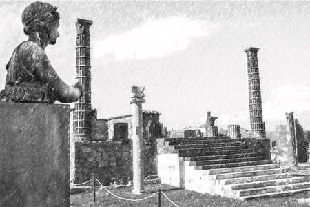 Pencil drawing of Pompeii, ancient roman statue of apollo Banque d'images - 125234871