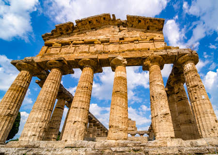Greek temple of Ceres found at Paestum Stock Photo