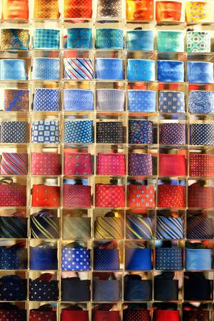 Many shelfs, fashion colored ties