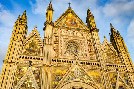 Facade of the Cathedral of Santa Maria Assunta, Duomo of Orvieto in Italian