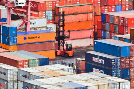 Piles of containers in the harbor of Salerno Editorial