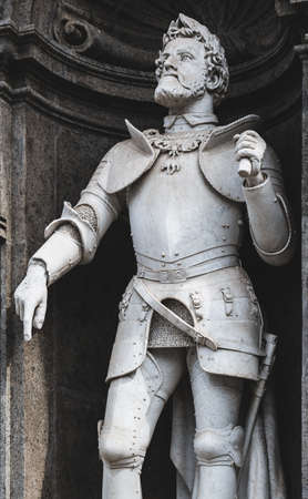 Carlo V statue at the entrance of Royal Palace in Naples, the work of Vincenzo Gemito of 1888