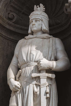 Federico II of Svevia, statues at the entrance of Royal Palace in Naples