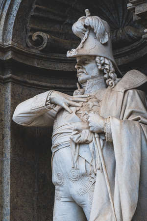 Gioacchino Murat statue at the entrance of Royal Palace in Naples