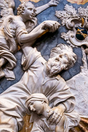 The baroque decoration, marble inlays of Jonah and the whale in Santa Caterina church in Palermo. italy Фото со стока