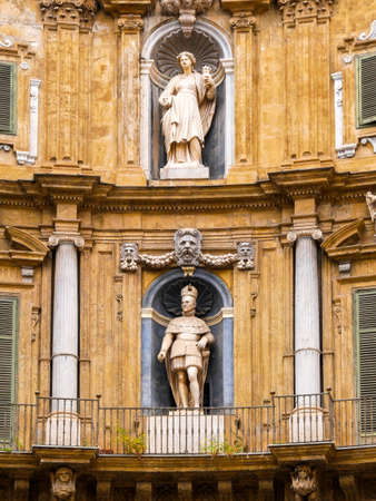 Statue of Philip II and Saint Ninfa and representation of the summer at the Quattro Canti, Palermo Baroque facade at the west corner in the historic center of Palermo