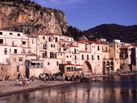 Sandy beach in Cefalu in Sicily, Italy