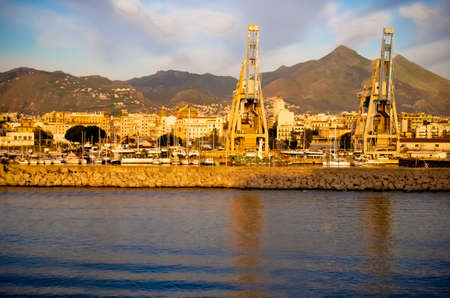 Commercial port of Palermo seen from the sea in Sicily