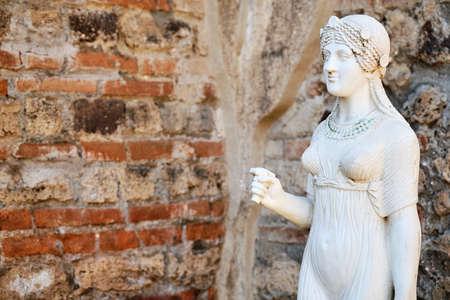 Ancient statue of Isis in the temple in Pompeii eruption of Mount Vesuvius in 79 BC