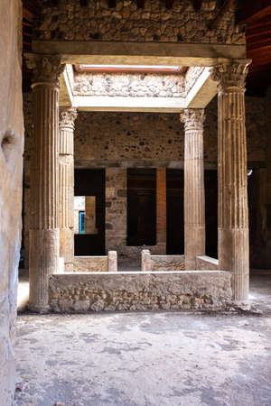 ruins of an ancient Roman house in Pompeii destroyed by the eruption of Vesuvius in 79 BC, Italy