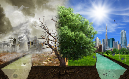 Two options   sides , eco concept, eco digital art  Stock Photo