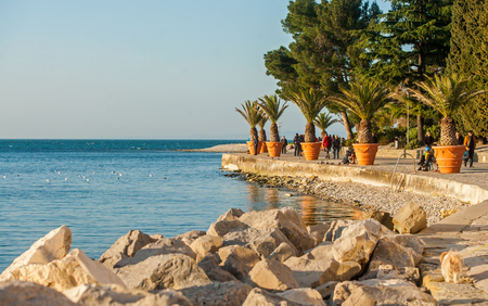 isola: Izola  Isola town, pathway at adriatic sea, Slovenia