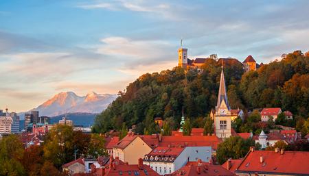 Sunset in Ljubljana, capital of Slovenia.