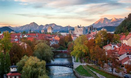 ljubljana: Sunset in Ljubljana, capital of Slovenia.