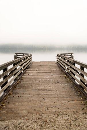 dispirited: Pier on Bohinj lake, Slovenia Stock Photo
