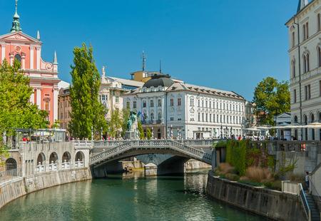 Drie bruggen, Ljubljana, Slovenië Stockfoto