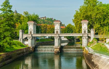 Floodgate on river Ljubljanica, Ljubljana, Slovenia  photo