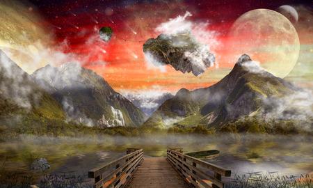 Fantasy land, wonderland, dreamland, digital art Standard-Bild