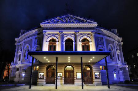 ljubljana opera house at night
