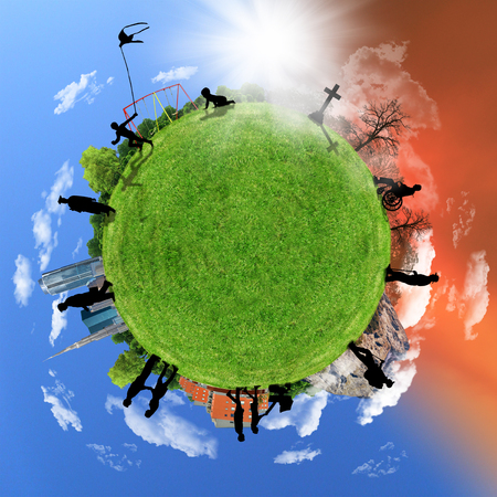 Human life circle, concept on a globe, aging. Stock Photo - 36573942