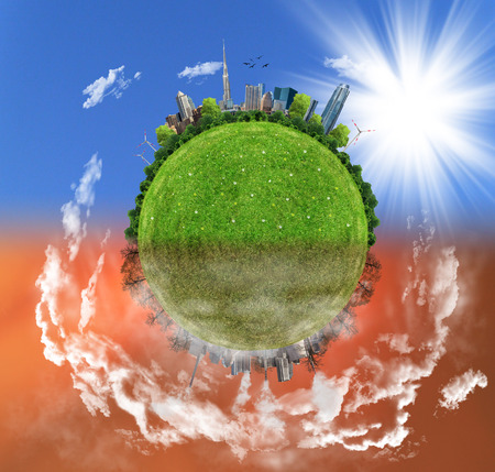 protection of land: Two options  sides , eco concept, eco digital art
