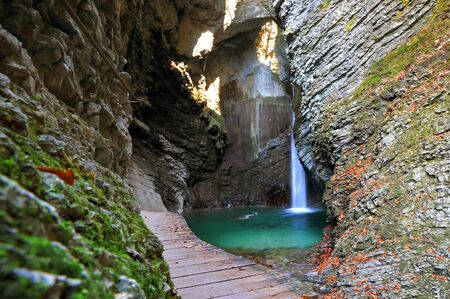 pool halls: Kozjak waterfall, Kobarid, Slovenia