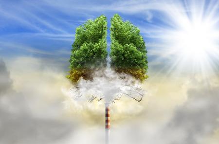 Drzewo w kształcie płuc z komina zamiast tułowia, koncepcja ekologicznego, zanieczyszczenia