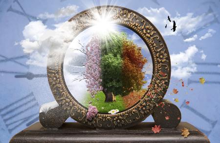 timeless: Four season tree in a clock Stock Photo