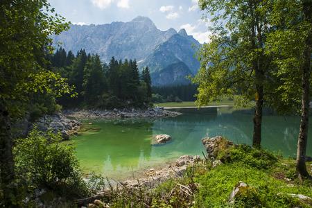 lake beach: Laghi di Fusine  Fusine lakes  Belopeska jezera, Italy Stock Photo
