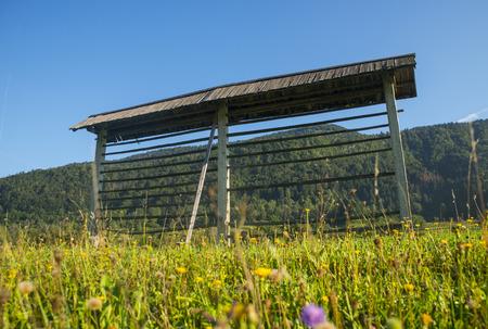 bohinj: Hayrack near Bohinj, Slovenia Stock Photo