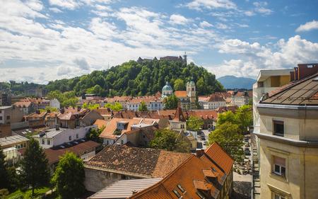Ljubljana town, Slovenia, view from above Stock Photo