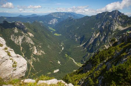 Logar valley, view from Kamnik saddle, Slovenia Stock Photo