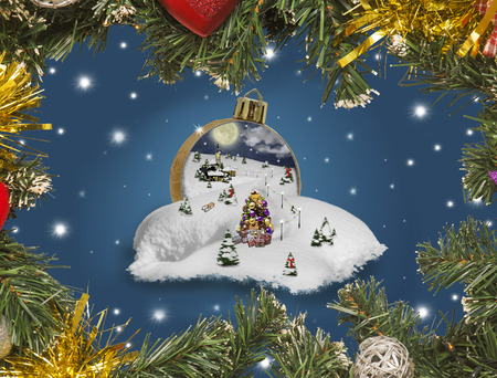 Wonderland in a christmas ball Stock Photo