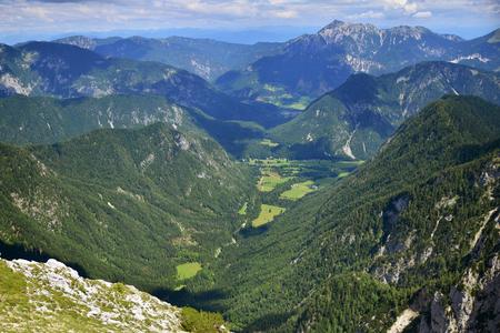 View from Pokljuka mountain on neighborhood mountains, Slovenia Stock Photo - 92728050