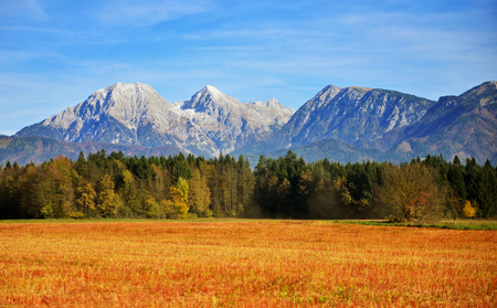 View on Kamnik Savinja alps near Kranj in Slovenia