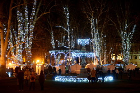 ZAGREB, CROATIA - DECEMBER 26., 2017: Christmas decorated town of Zagreb during advent and holidays in December.