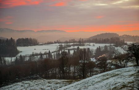 Winter sunset near Lukovica in Slovenia