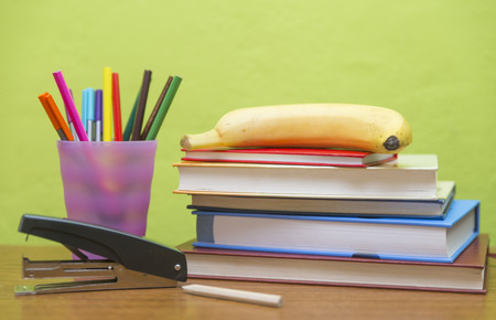 Studying table with accessories Stock Photo - 92733424