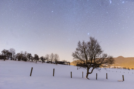 Night snowy scene in Tuhinj valley, Slovenia Reklamní fotografie