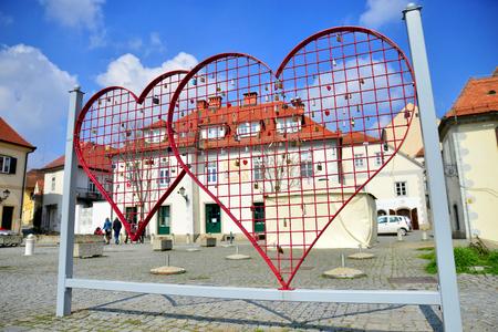 Heart shaped fence with locks in Maribor, Slovenia