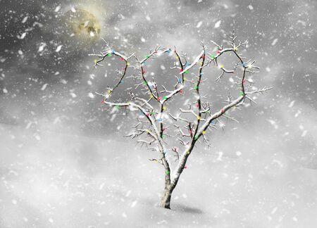 Snowy christmas tree in a shape of 2019 Standard-Bild