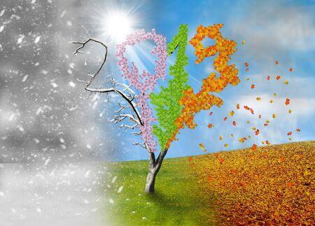 Four season tree in a shape of year 2019 Standard-Bild