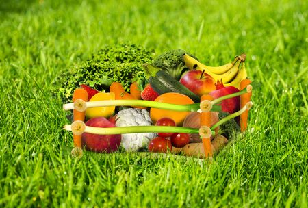 Fresh fruit and vegetable in a crate